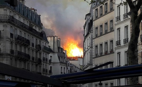 Flames were visible throughout Paris.