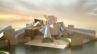 The museum will be surrounded on three sides by water, and it will serve as a manmade breakwater to protect the beaches