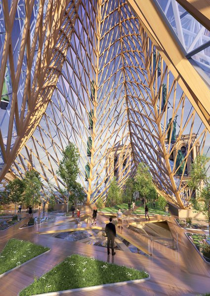The spire's wooden frame would be wrapped with a glass facade subdivided into faceted diamond-shaped elements.