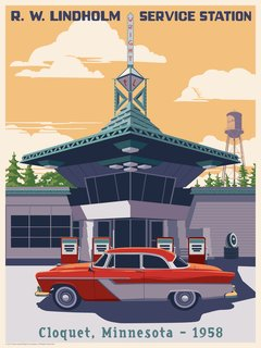 Artist Steve Thomas chose to depict Wright's only gas station, originally designed for his utopian Broadacre City.