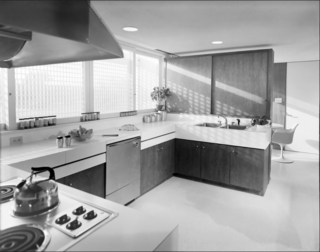 The home's kitchen in the 1960s.