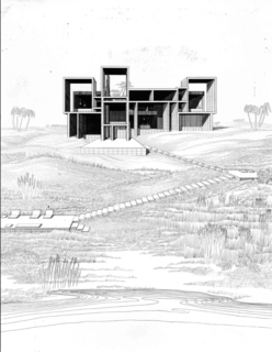 """An original sketch of the house shows Rudolph's vision. """"The exceptional wild Florida site 60 feet above the Atlantic Ocean is a counterfoil to the geometry of the structure,"""" Paul Rudolph said of the home."""