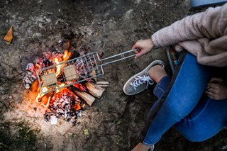 What camping trip is complete without s'mores? Rome's chrome-plated steel S'more Grill makes three s'mores at a time, so you can all enjoy the toasty goodness together.
