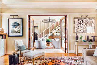 Designer Cortney Bishop used antique Serapi rugs—a type of Persian carpet—that she sourced from a local dealer to guide the design of this residence in Knoxville, Tennessee.