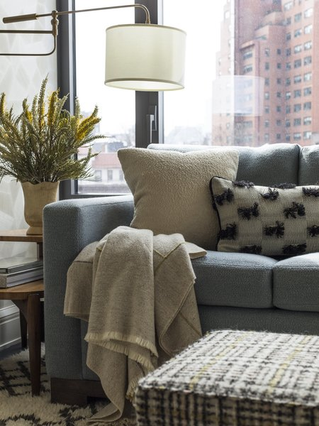 For this family room, Gideon Mendelson chose a high pile, Morrocan-style rug from West Elm that cost $800. The combination of high pile, pattern, and durability means that stains and spills won't be as easily seen.