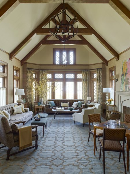 This silk-and-wool rug was custom-designed by Gideon Mendelson for this Westchester home. The design was executed by Sprung & Rich.