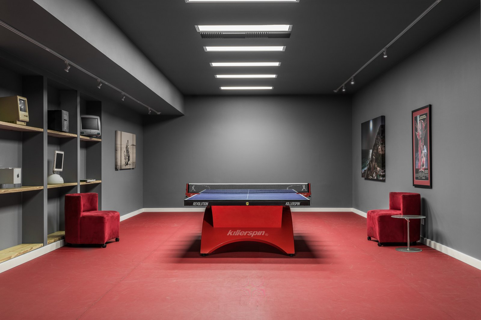 Living Room, Ceiling Lighting, Track Lighting, Chair, and End Tables Table Tennis Room  Copperwood by Kevin Swan