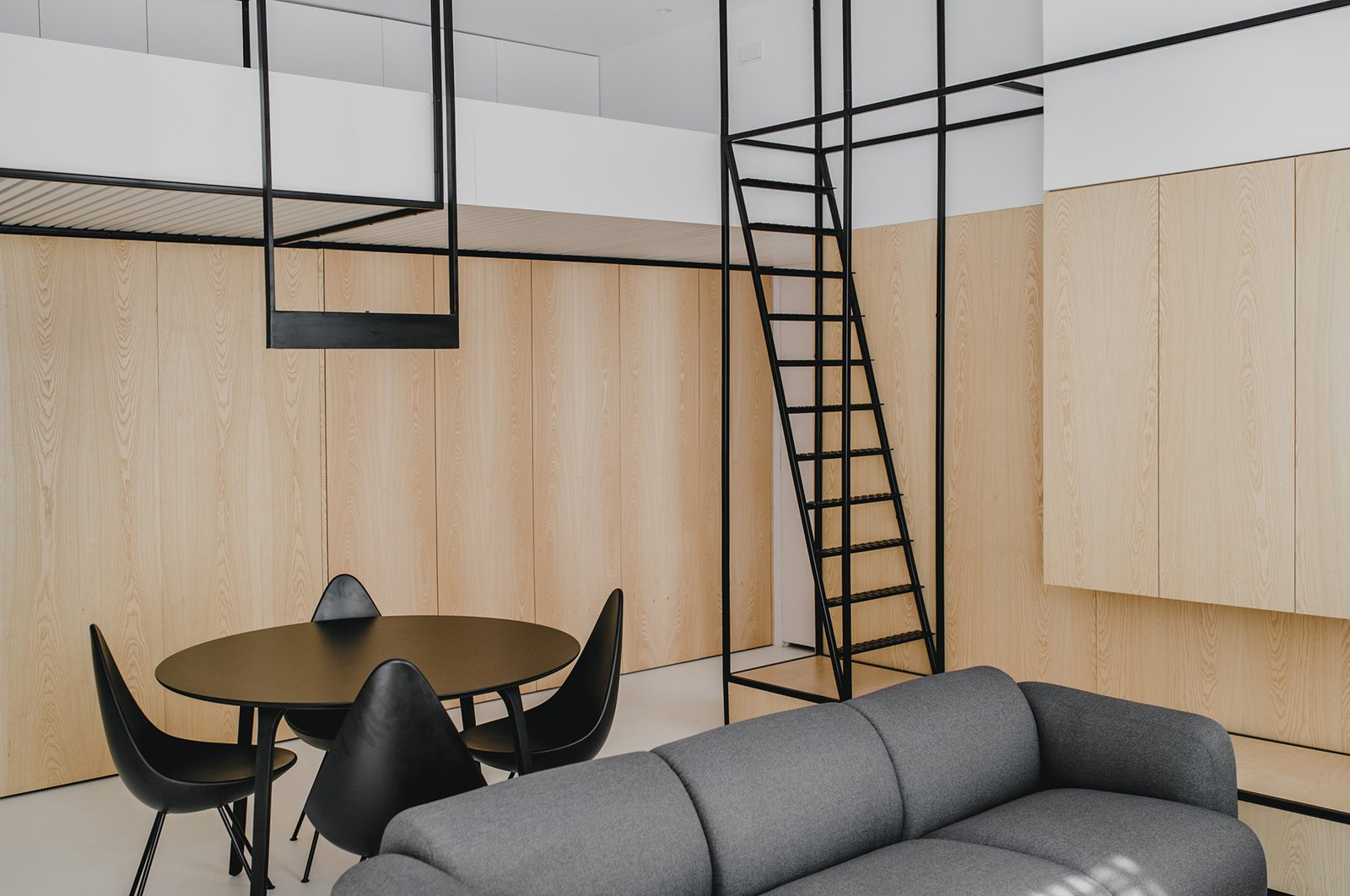 Living open space + mezzanine (bedroom)  Wireframe by MUS ARCHITECTS