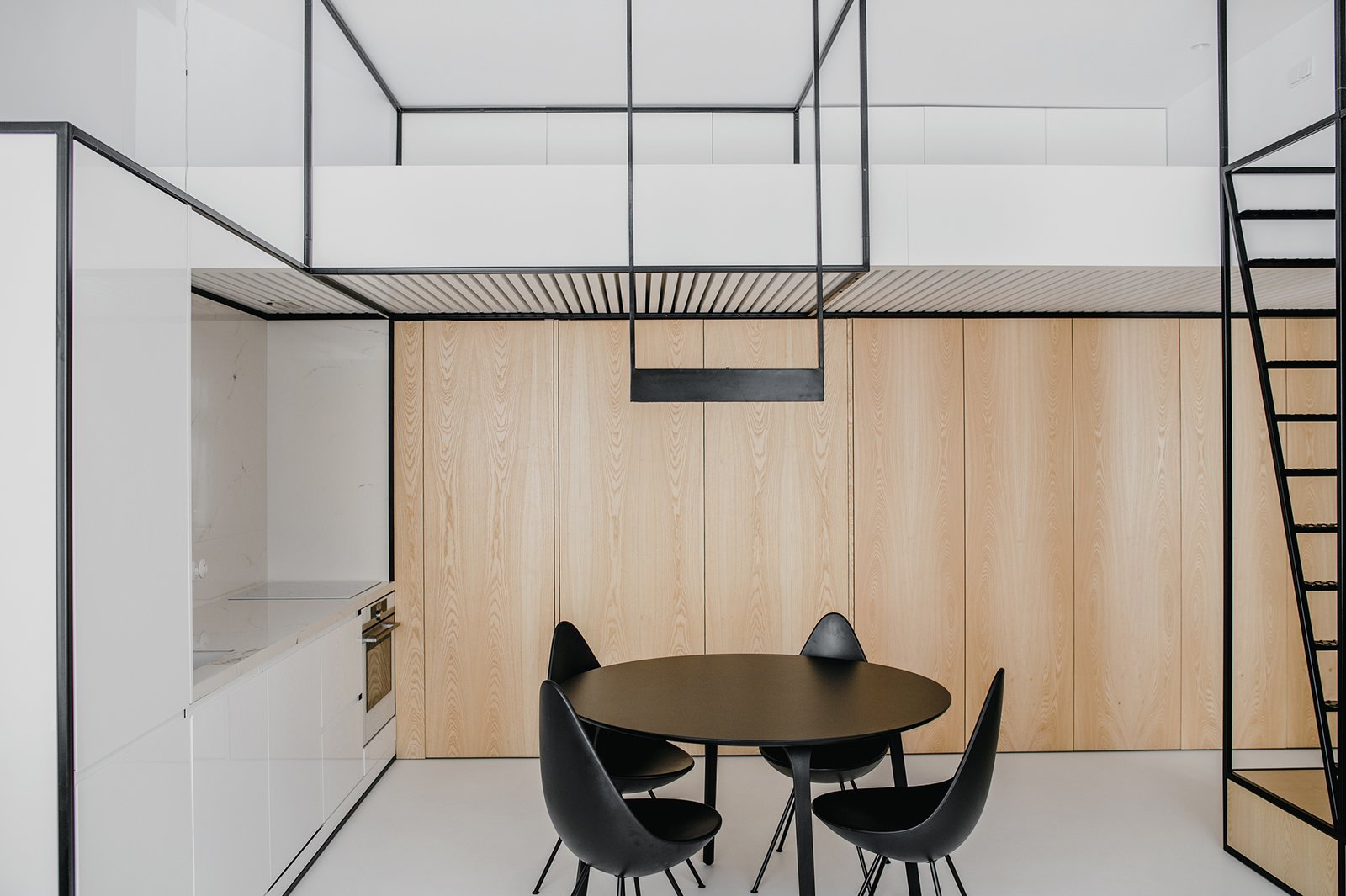 Living Room, Pendant Lighting, and Chair Living open space + mezzanine (bedroom)  Wireframe by MUS ARCHITECTS