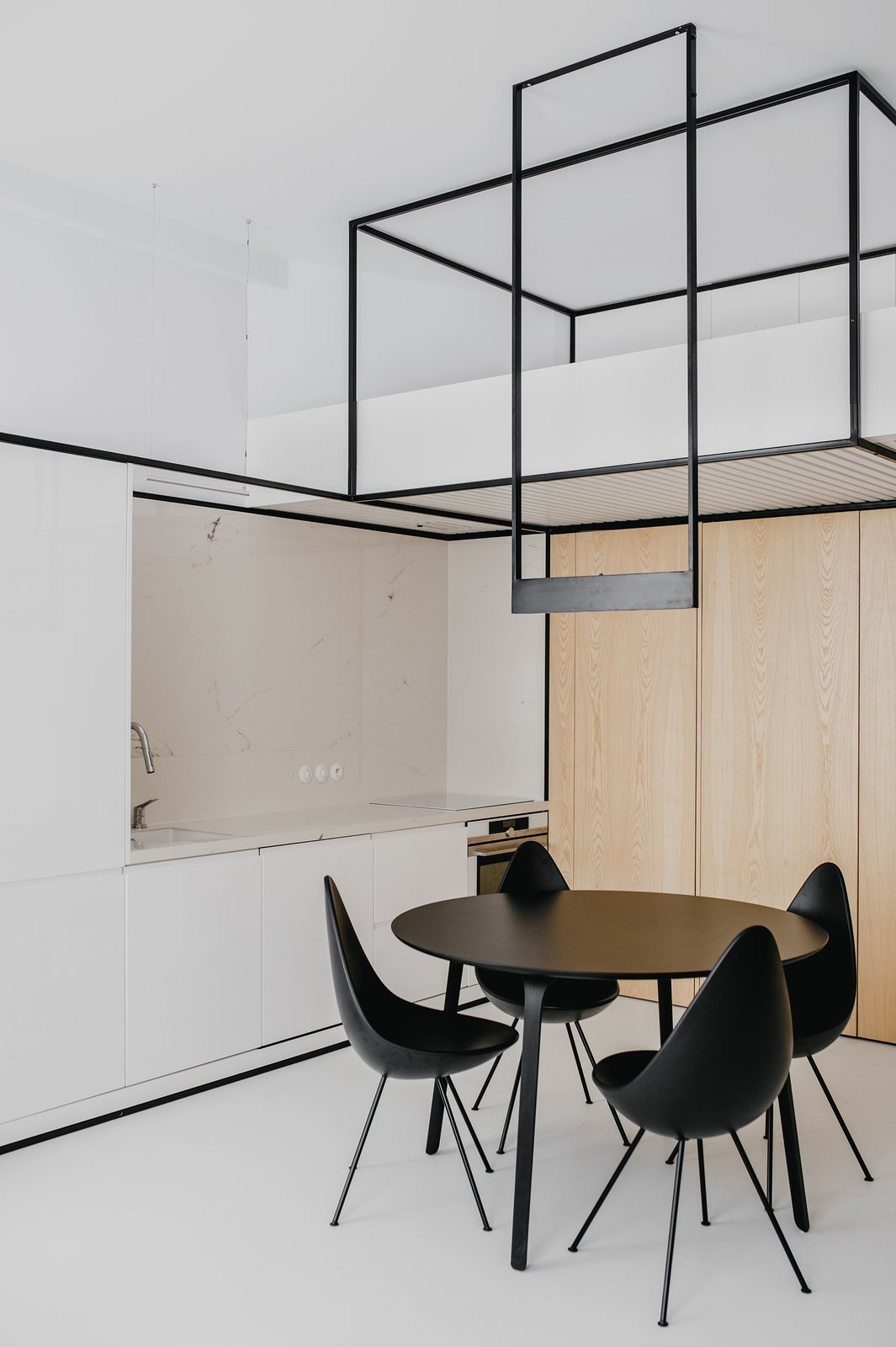 Dining Room Living open space + mezzanine (bedroom)  Wireframe by MUS ARCHITECTS