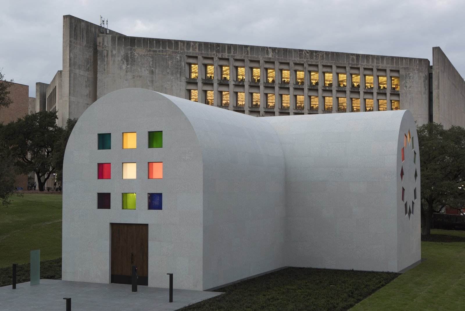 Exterior, Stone Siding Material, and Curved RoofLine The west façade off Ellsworth Kelly's  Photo 1 of 10 in Artist Ellsworth Kelly's Final Work Is Now Open in Austin