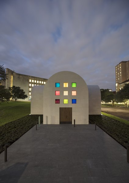 "The south façade of Ellsworth Kelly's ""Austin"" at the Blanton Museum of Art with an entry door fabricated from live oak."