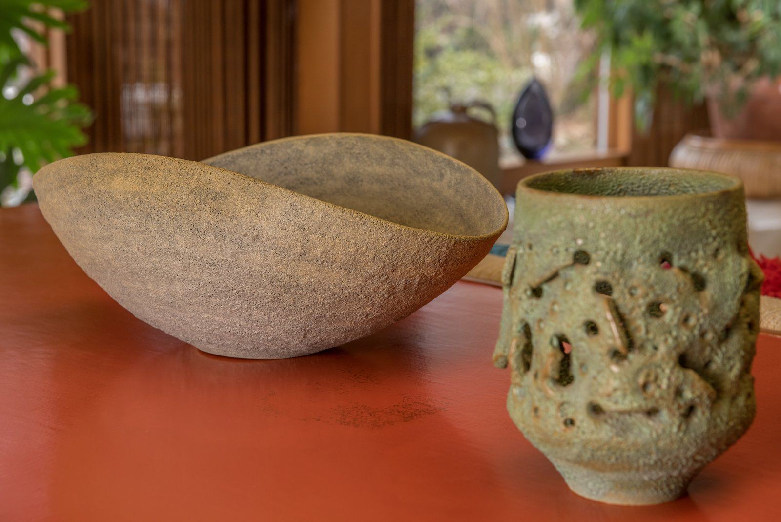 Living Room TK pieces of pottery by the Natzlers can be found throughout the Dow residence.  Photo 12 of 15 in A Midcentury Time Capsule Captures an Architect's Love For Iconic Design