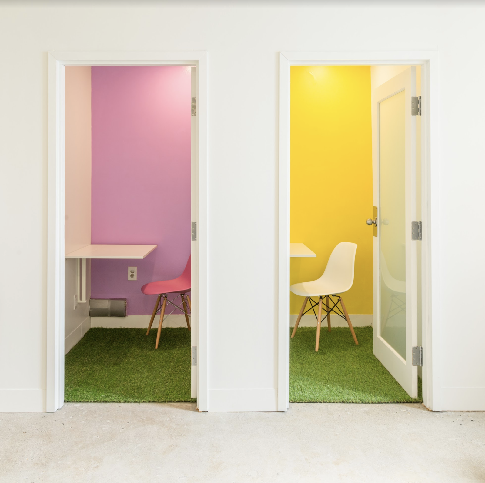 Office, Concrete Floor, and Chair Private photo booths allow privacy for Skype and conference calls.    Photo 9 of 17 in 6 Co-Working Clubs Catered to Women That Radiate Good Vibes and Beautiful Designs