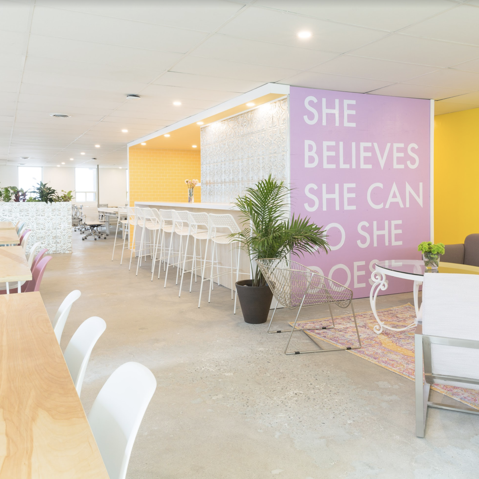 Office, Concrete Floor, Chair, and Desk Members can perch at the bar, relax in a comfortable living area, or sprawl out at one of the many tables used for collaborative work.    Photo 8 of 17 in 6 Co-Working Clubs Catered to Women That Radiate Good Vibes and Beautiful Designs