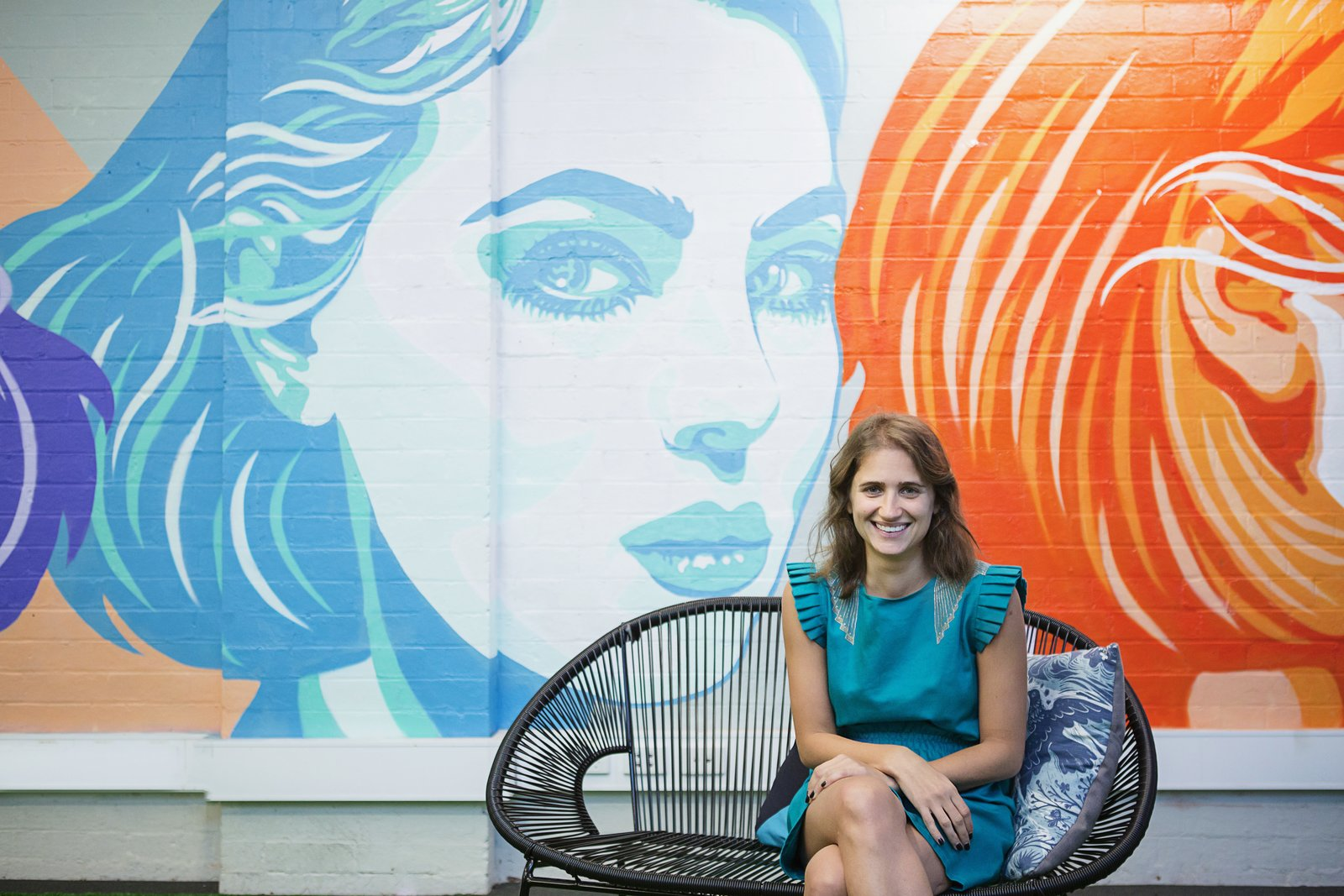 Office One Roof's walls are covered in bright, graphic murals of females.    Photo 17 of 17 in 6 Co-Working Clubs Catered to Women That Radiate Good Vibes and Beautiful Designs