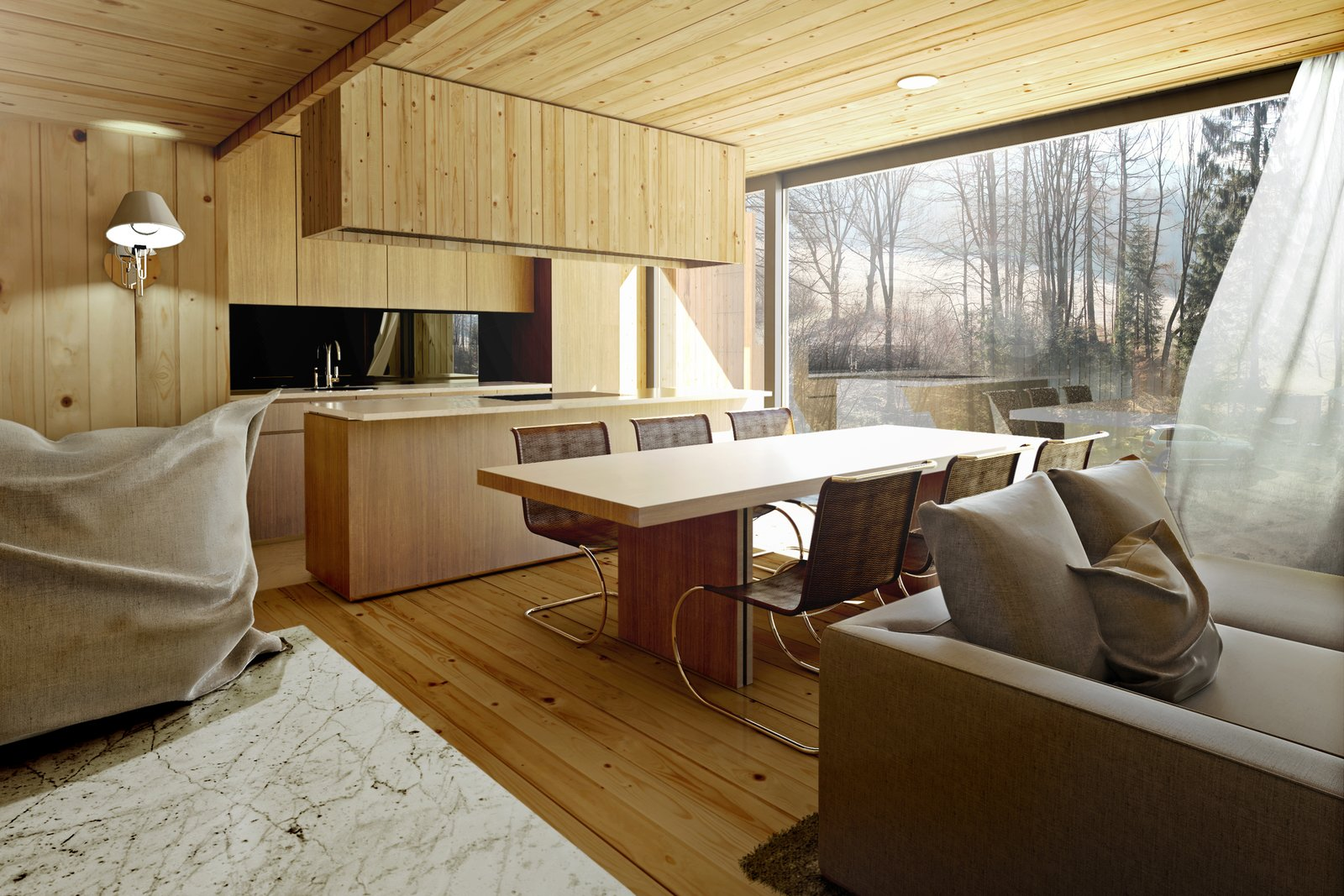 Mountain hut living area with floor-to-ceiling windows