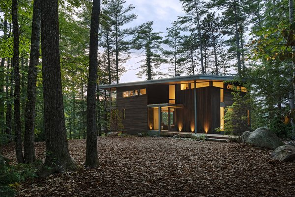 """Cedar siding is stained in dark brown to camouflage the cabin with the surrounding forest. """"It was important that this house appears modern and blends in,"""" says Murdough."""