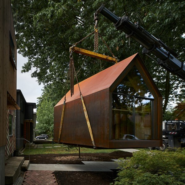 Outfitted with a desk, storage, and wiring, the Site Shack is equipped for work.