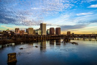 Richmond, Virginia is situated on the banks of the James River.