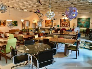 Midcentury Morris' 11,000-square-foot warehouses are a treasure trove of iconic mod furnishings and decor.