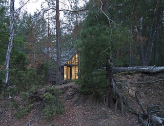 The cabin's pine-and-spruce exterior allow it to blend into its forested surroundings.