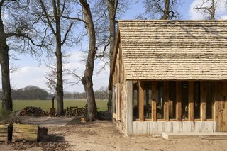 The architects used smaller bits of oak as wooden shingles for the roof.