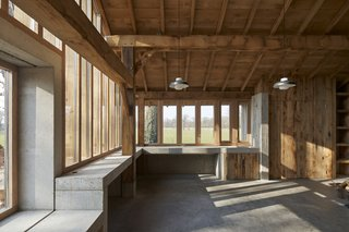 In the 1,300-square-foot barn, 400 square feet serve as a workspace for the architects' firm.