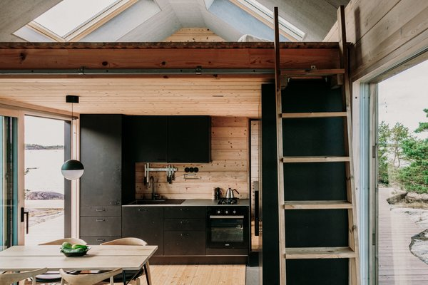 "The cabinetry is made by Puustelli Miinus. ""It is the most ecological kitchen out there,"" says AleksAleksii of the black-stained birch cabinets with bio-composite frames."