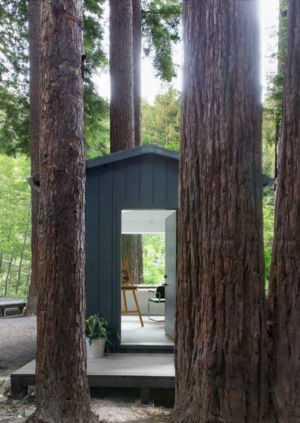 A small, dilapidated 10' x 12' neighboring structure was brought back to life and is now used as an art studio and guest cottage with a Murphy bed. In total, the property can sleep 10 people comfortably.