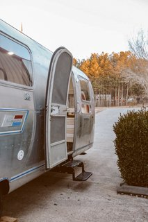 NüAbode and Mavis The Airstream transformed the 31-foot-long trailer into a mobile bachelor pad for Nashville musician Ryan Hunter Sanchez.