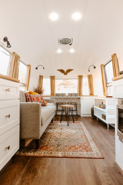 The front of the Airstream holds a workstation so that Sanchez can have fellow musicians over to collaborate on projects.