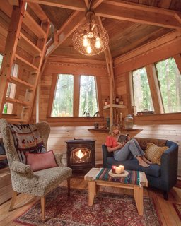 The interior of the cabin is constructed out of salvaged Douglas fir.