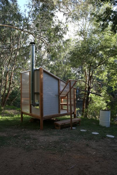 The exterior is constructed from cypress pine wood and lightweight polycarbonate.