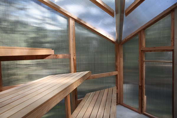 Although the pint-sized sauna has a footprint of 62 square feet, tiered benches maximize space.
