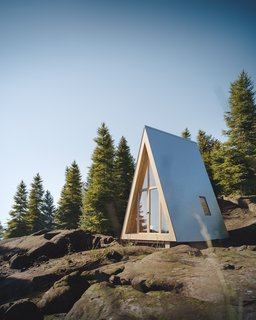 Den's A frame Bunk Cabin is designed for pint-sized living with 168 square feet of space.