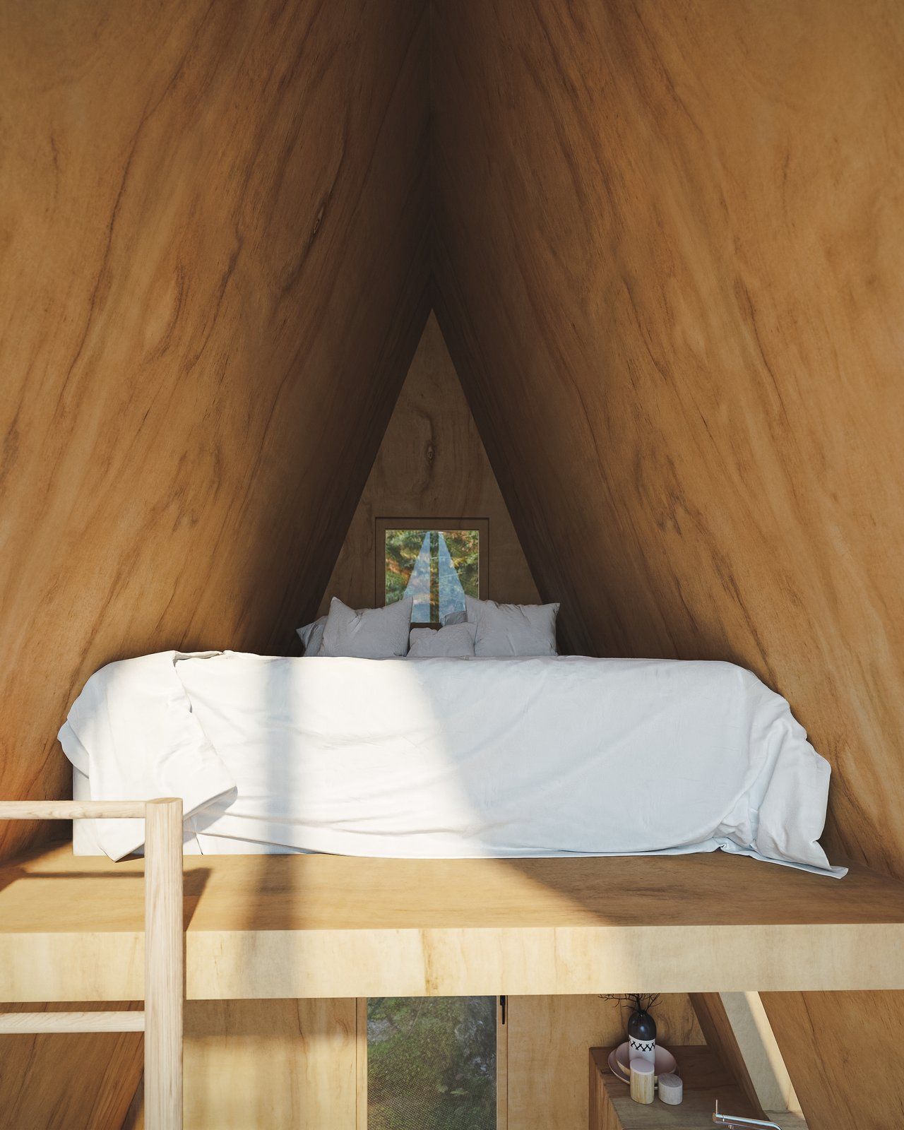 Shed & Studio and Living Space Room Type In the Bunk Cabin's lofted area sleeps two.  Photo 4 of 13 in A DIY Cabin Brand Is Selling $99 A-Frame Plans