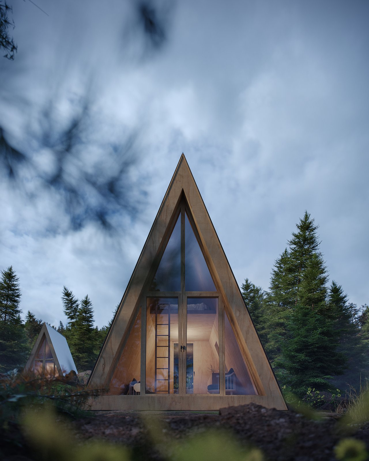 Exterior, Cabin Building Type, Metal Roof Material, Wood Siding Material, and A-Frame RoofLine The entire front facade of the Bunk Cabin is encased in glass to maximize views.  Photo 5 of 13 in A DIY Cabin Brand Is Selling $99 A-Frame Plans