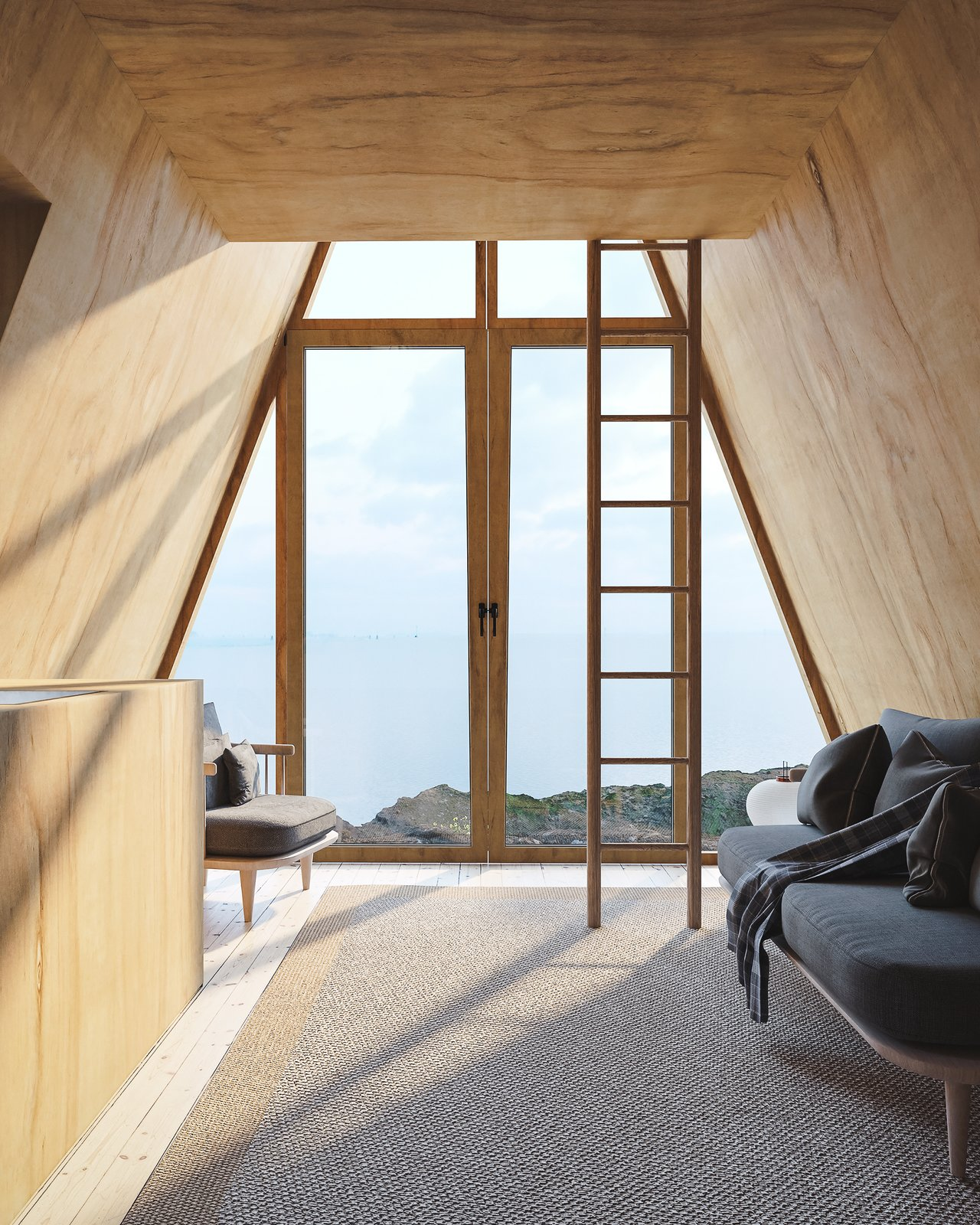 Shed & Studio and Living Space Room Type A ladder leads from the open first floor to the lofted sleeping area in Den's Bunk Cabin.  Photo 7 of 13 in A DIY Cabin Brand Is Selling $99 A-Frame Plans