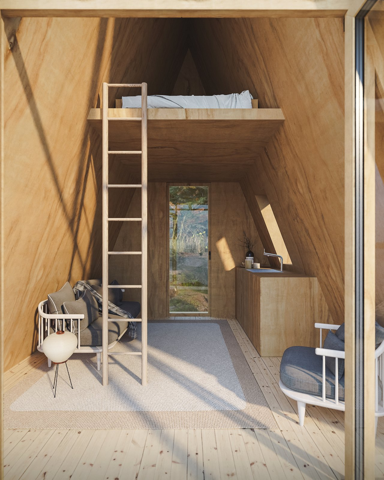 Shed & Studio and Living Space Room Type The Bunk Cabin's mini kitchen is designed for 24-inch cabinets.  Photo 6 of 13 in A DIY Cabin Brand Is Selling $99 A-Frame Plans