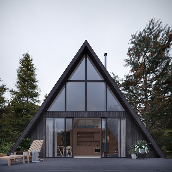 Den's A frame house is designed with 1,000 square feet of living space.