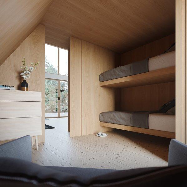 The sleek, wood-clad downstairs bedroom includes built-in bunk beds.