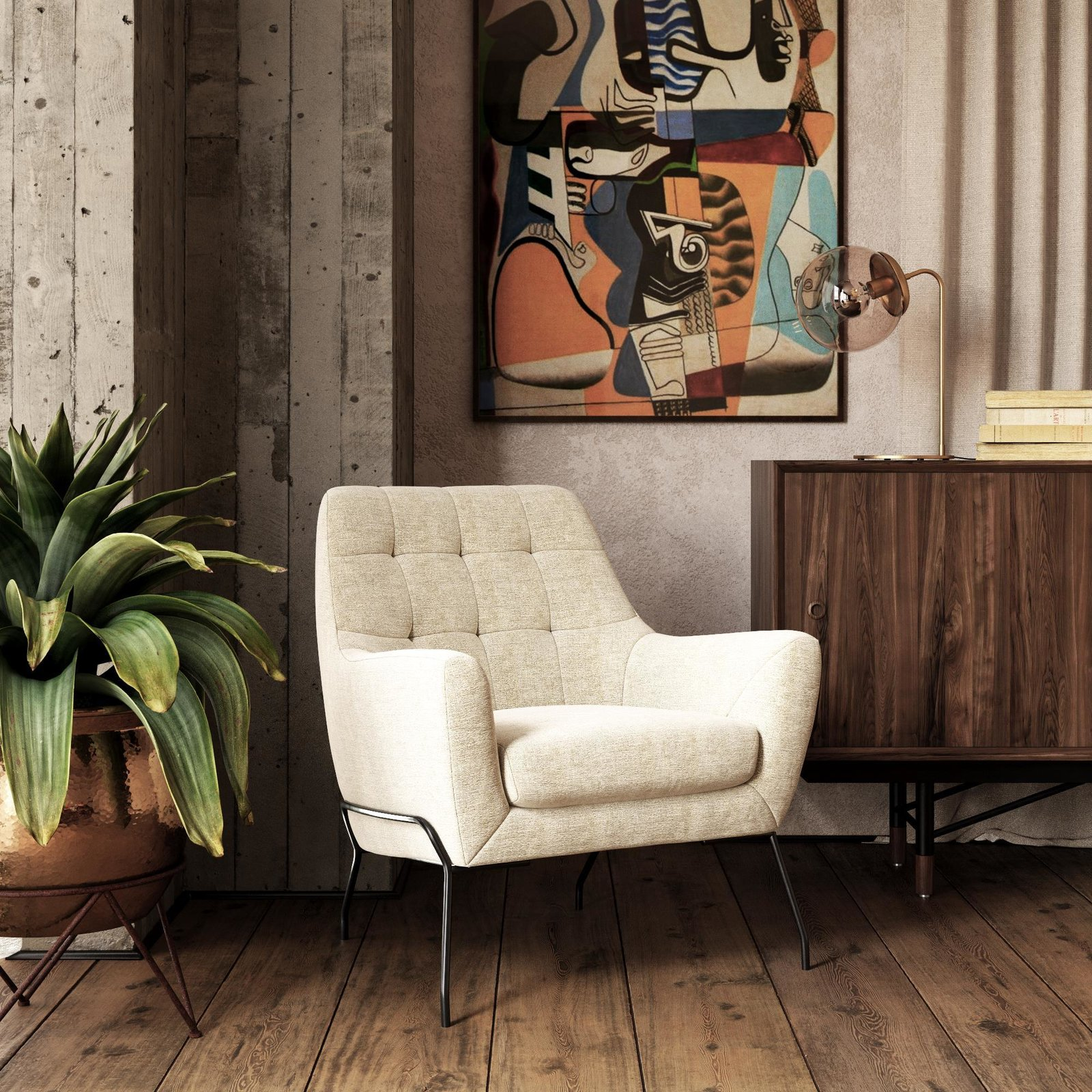 The Brayden Modern Accent Chair is $319 and its textured beige fabric and midcentury silhouette make it a versatile piece to incorporate into a living spaces.  Photo 1 of 7 in Queer Eye's New Furniture Collection Is the Best Thing You Can Buy at Walmart