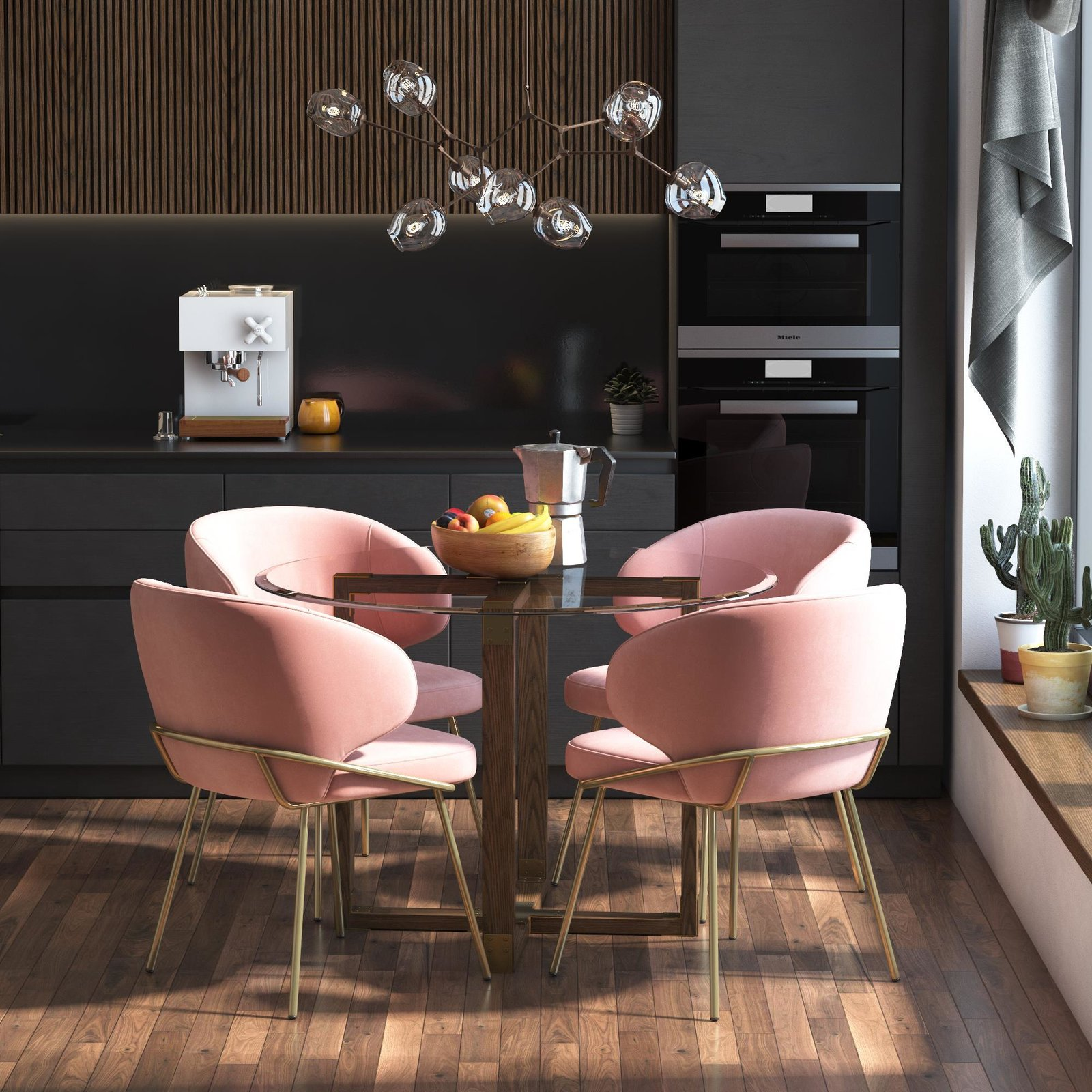 The Durham Glass Top Dining Table fuses industrial and modern looks with a rustic oak base and beveled glass top for $240.  Photo 2 of 7 in Queer Eye's New Furniture Collection Is the Best Thing You Can Buy at Walmart