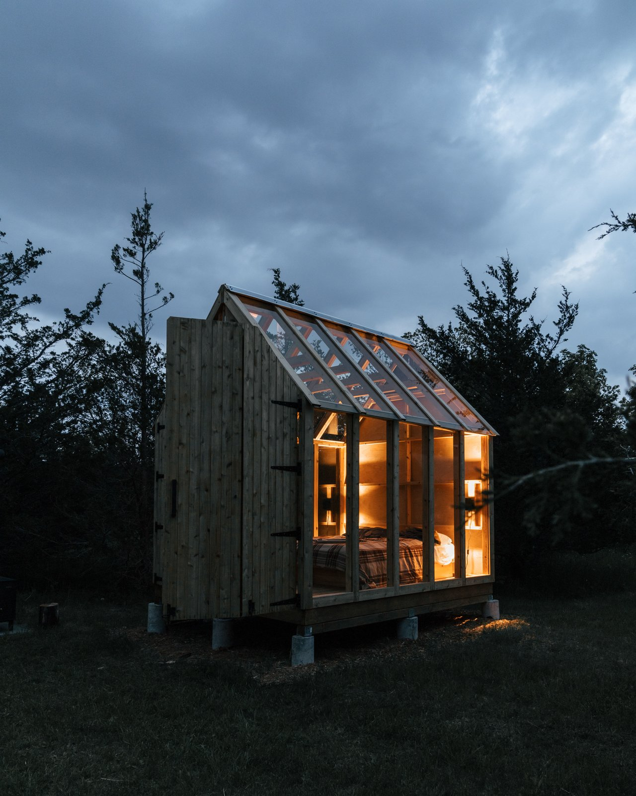 Skyward Cabin exterior at night