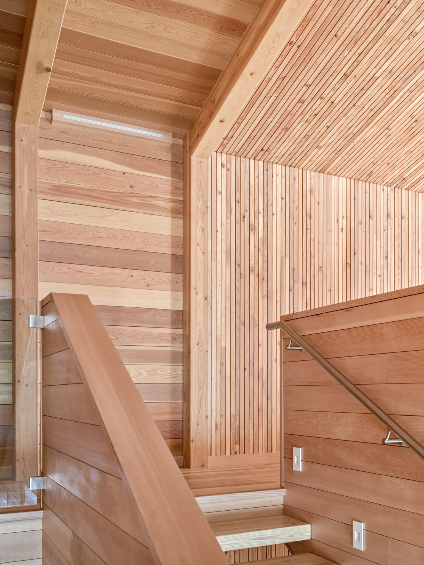 The nearly 2,500-square-foot house is built primarily from locally sourced Douglas fir.