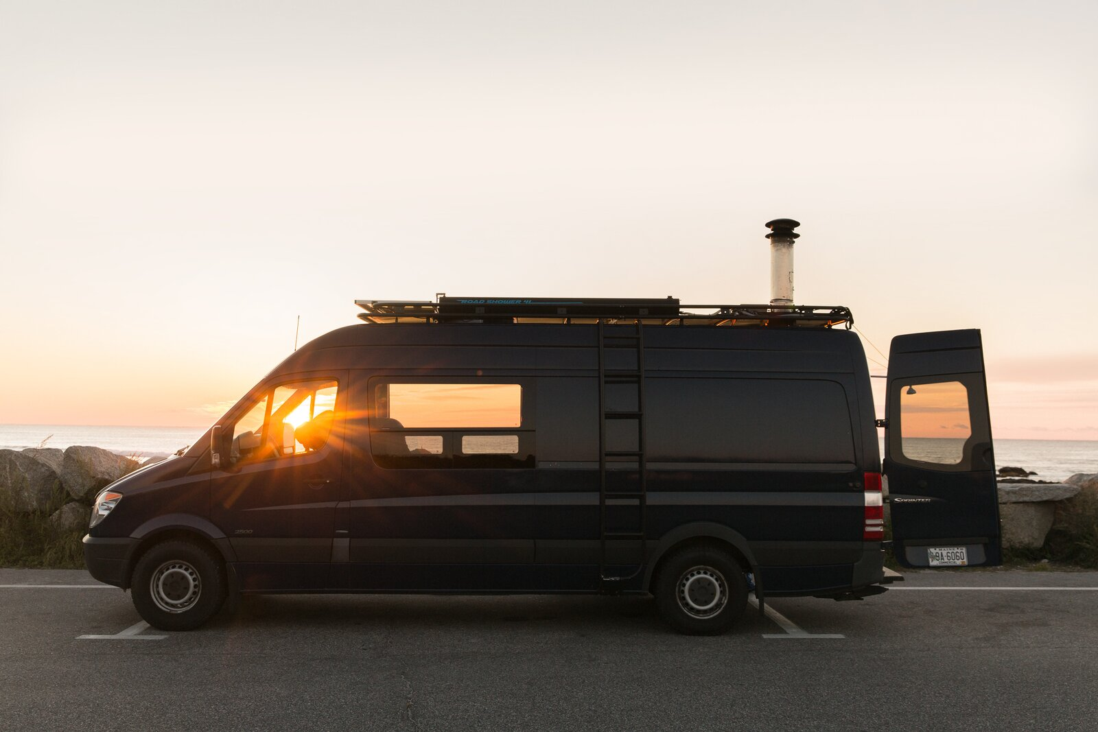 """Nick Rosenblum found the 2011 Mercedes Sprinter 2500 170"""" WB on the west coast, and drove it cross-country, back to Maine, to be overhauled by AWOL Rigs.  Photo 2 of 11 in Missing the Spa? This Converted Mercedes Sprinter Can Bring the Sauna to Your Doorstep"""