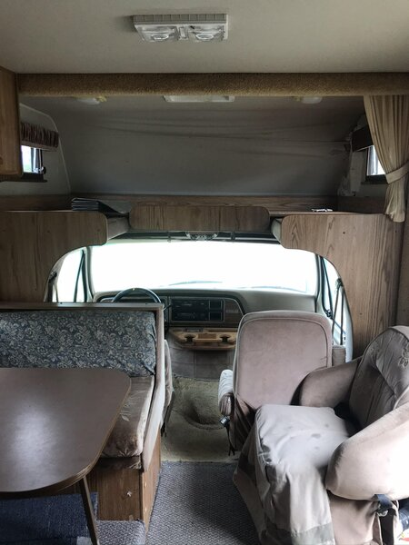 A before shot of the cab and dining area.