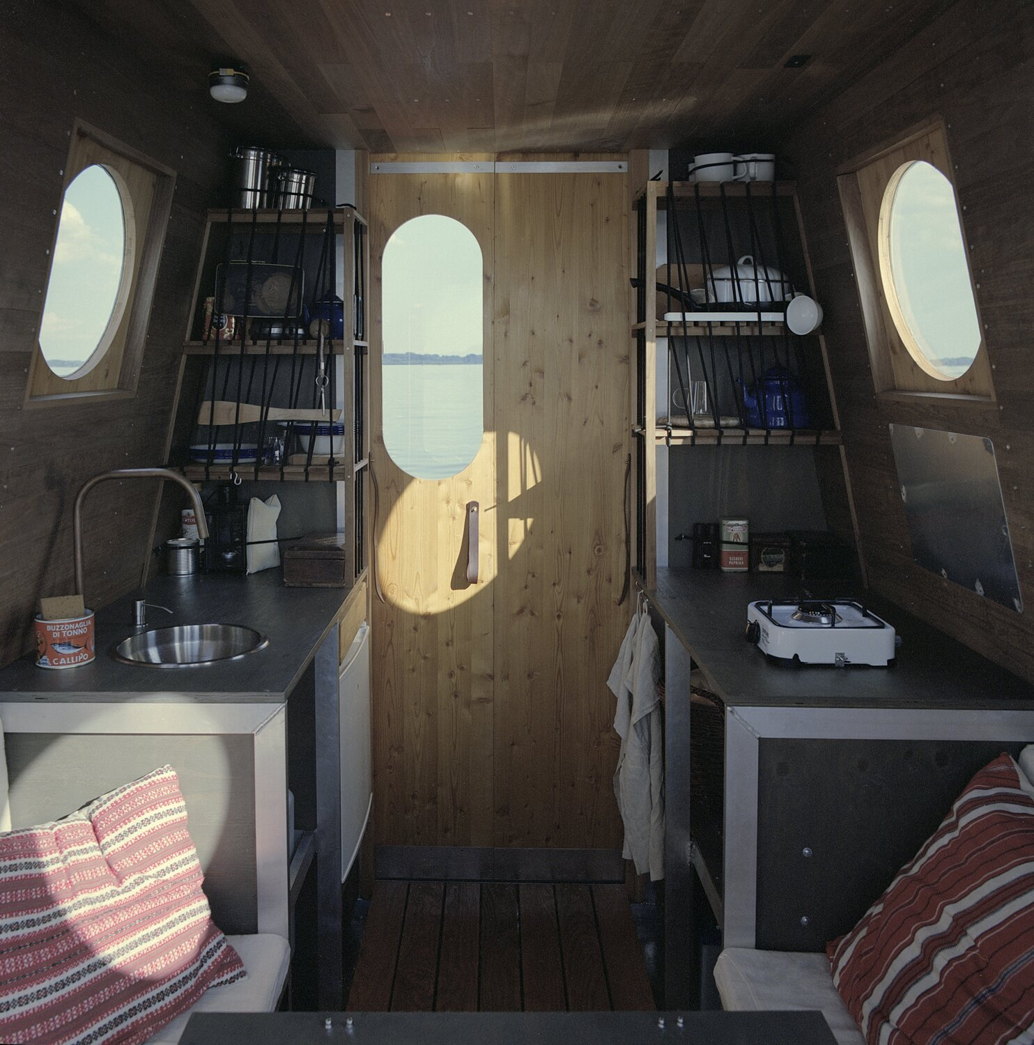 Interior of Sneci Houseboat on Lake Tisza