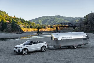 The 25-foot trailer's reflective shell is made from aerospace quality aluminum.